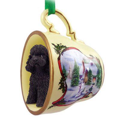 poodle black sportcut teacup ornament