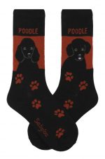 Poodle Black Standard & Sport Cut Socks - Red and Black in Color