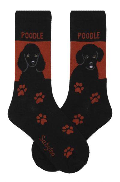 Poodle Black Standard & Sport Cut Socks - Red and Black in Color