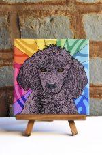 Poodle Black Colorful Portrait Original Artwork on Ceramic Tile 4x4 Inches