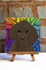 Poodle Brown Colorful Portrait Original Artwork on Ceramic Tile 4x4 Inches