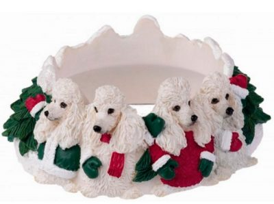 Poodle Candle Holder Topper White