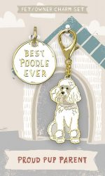 Poodle Collar Charm and Keychain Set