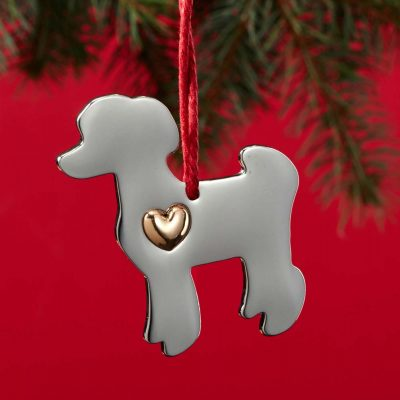 Poodle Holiday Ornament & Collar Charm Set 2