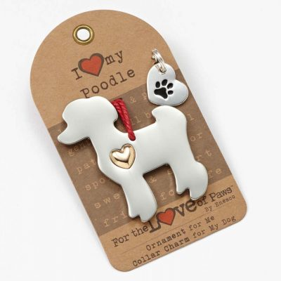 Poodle Holiday Ornament & Collar Charm Set 1