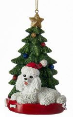 Poodle Christmas Tree Ornament White