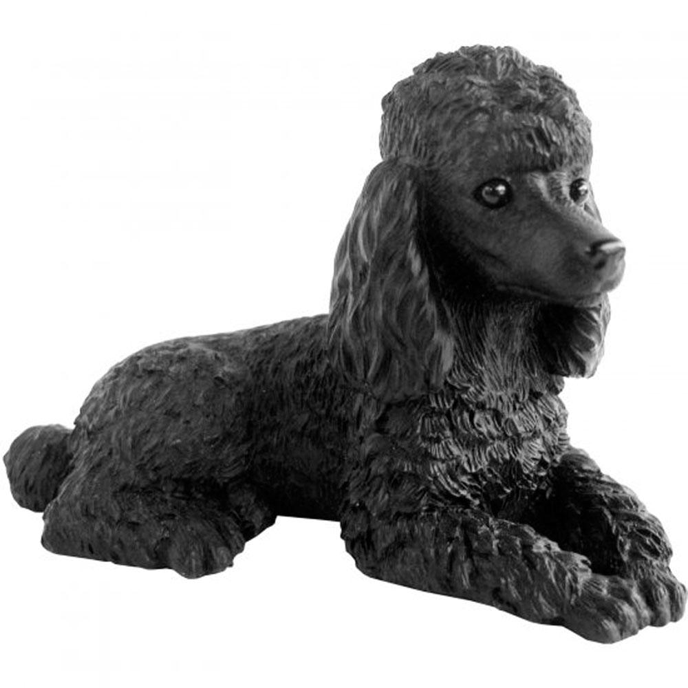 Poodle Figurine Hand Painted Black Sandicast