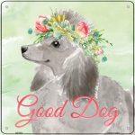 "Poodle ""Good Dog"" Metal Sign Gray"