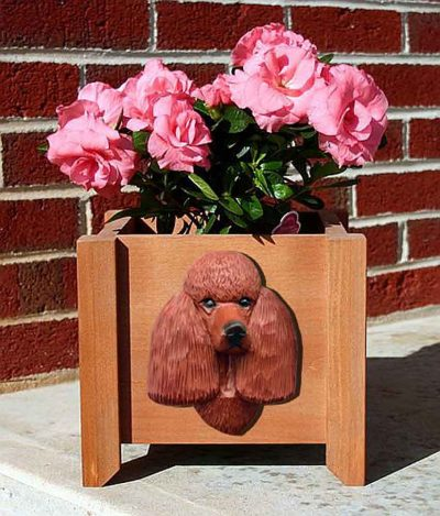 Poodle Planter Flower Pot Red 1