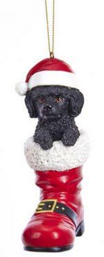 Poodle Santa Boot Ornament Black