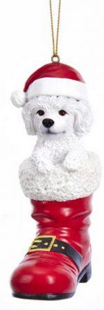Poodle Santa Boot Ornament White