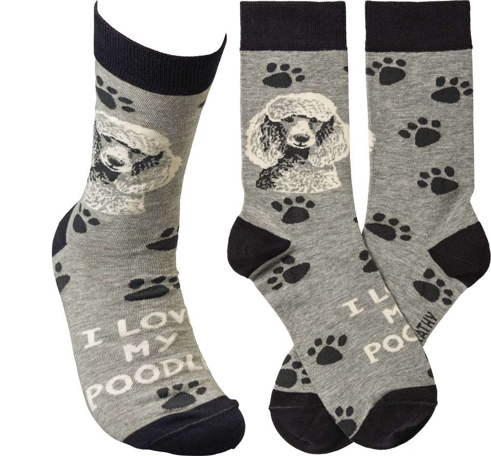 I Love My Poodle Socks By Kathy