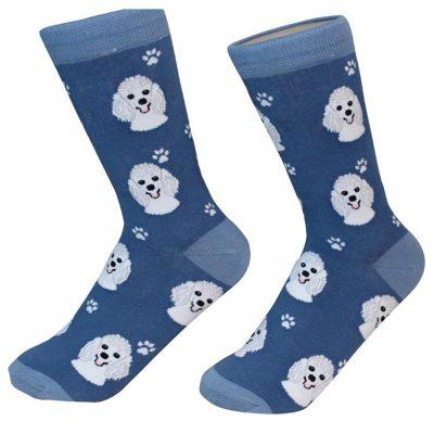 Poodle Face Pattern Socks White