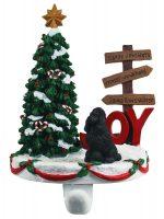 Poodle Stocking Holder Hanger Black
