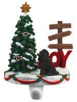 Poodle Stocking Holder Hanger Chocolate