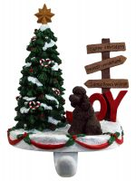 Poodle Stocking Holder Hanger Chocolate Sport