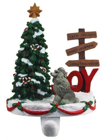 Poodle Stocking Holder Hanger Gray