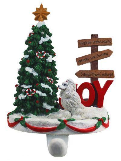 Poodle Stocking Holder Hanger White