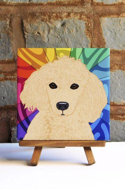 Poodle Tan/Apriciot Colorful Portrait Original Artwork on Ceramic Tile 4x4 Inches