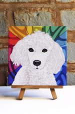 Poodle White Colorful Portrait Original Artwork on Ceramic Tile 4x4 Inches