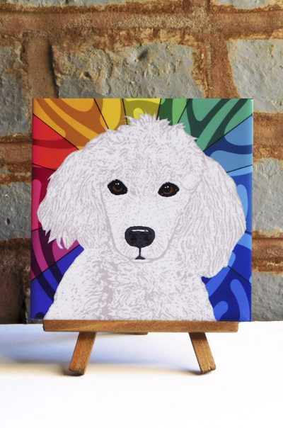 Poodle White Colorful Portrait Original Artwork on Ceramic Tile 4x4 Inches