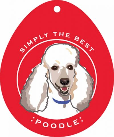 "Poodle Sticker 4x4"" White"