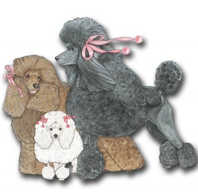 Poodle Wooden Magnet Family
