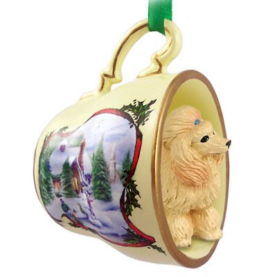 Poodle Dog Christmas Holiday Teacup Ornament Figurine Apricot 1