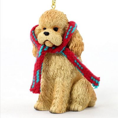 Poodle Dog Christmas Ornament Scarf Figurine Apricot Sport Cut 1