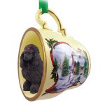 Poodle Dog Christmas Holiday Teacup Ornament Figurine Blk