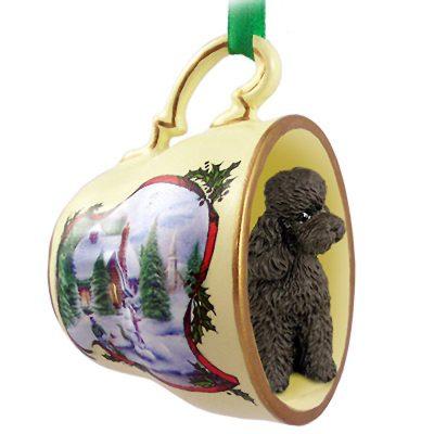 Poodle Dog Christmas Holiday Teacup Ornament Figurine Chocolate Sport