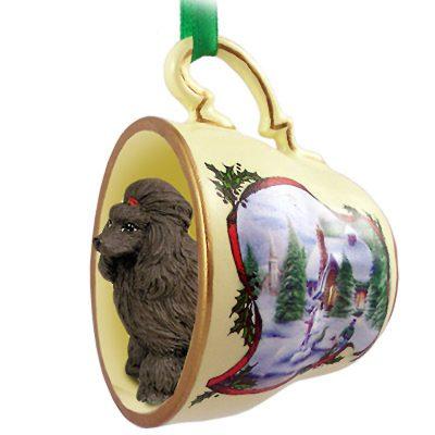 Poodle Dog Christmas Holiday Teacup Ornament Figurine Chocolate 1