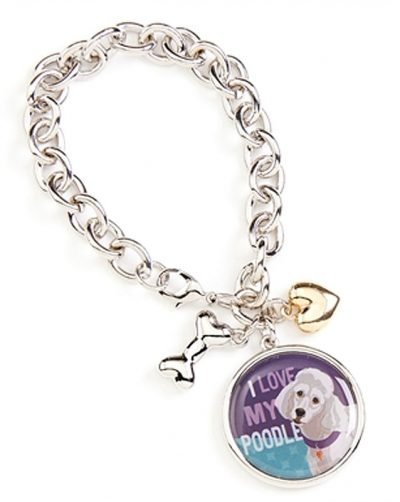 Poodle Charm Bracelet w/ Heart & Bone Silver
