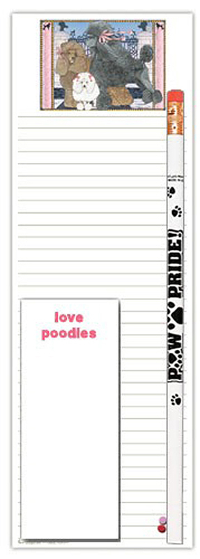 Poodle Dog Notepads To Do List Pad Pencil Gift Set 1