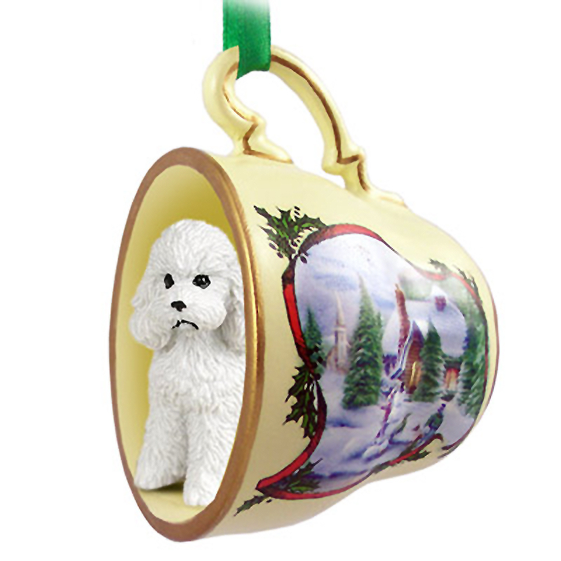 Poodle Dog Christmas Holiday Teacup Ornament Figurine White Sport