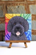 Portuguese Water Dog Colorful Portrait Original Artwork on Ceramic Tile 4x4 Inches