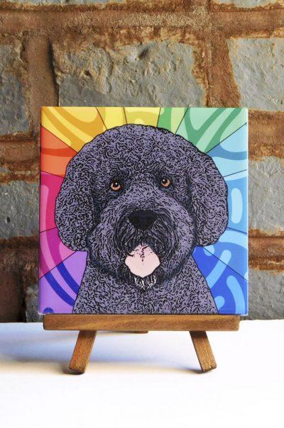 Portuguese Water Dog Colorful Portrait Original Artwork on Ceramic Tile 4x4 Inches