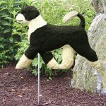 Portuguese Water Dog Garden Stake Outdoor Sign Black & White