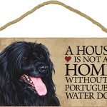Portuguese Water Wood Dog Sign Wall Plaque 5 x 10 + Bonus Coaster 1