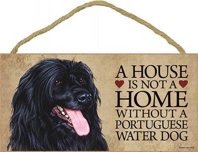 Portuguese Water Wood Dog Sign Wall Plaque 5 x 10 + Bonus Coaster