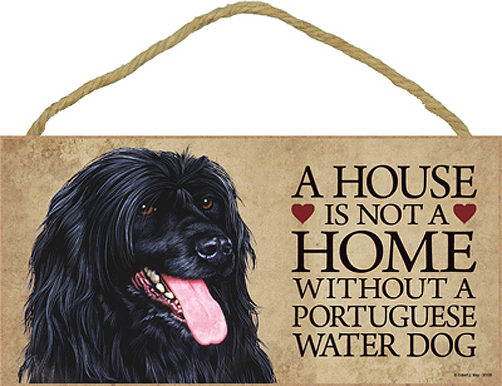 Portuguese Water Wood Dog Sign Wall Plaque 5 x 10 + Bonus Coaster