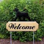 Portuguese Water Dog Outdoor Welcome Garden Sign - Black in Color