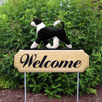 Portuguese Water Dog Outdoor Welcome Garden Sign Black & White in Color