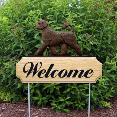 Portuguese Water Dog Outdoor Welcome Garden Sign - Brown in Color
