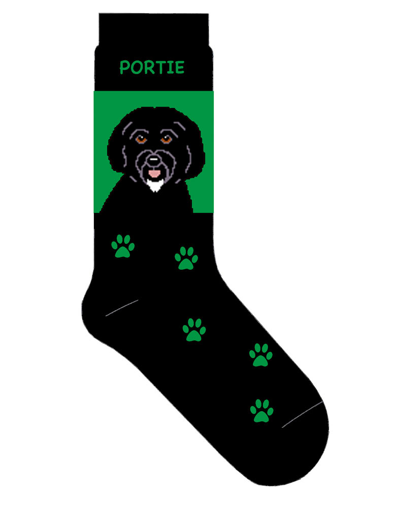 Portuguese Water Dog Socks Lightweight Cotton Crew Stretch Green