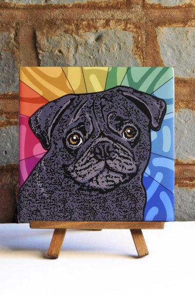Pug Black Colorful Portrait Original Artwork on Ceramic Tile 4x4 Inches