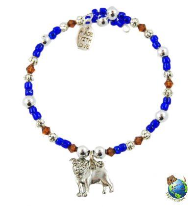 Pug Beaded Charm Bracelet Silver Handmade