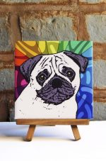 Pug Fawn Colorful Portrait Original Artwork on Ceramic Tile 4x4 Inches