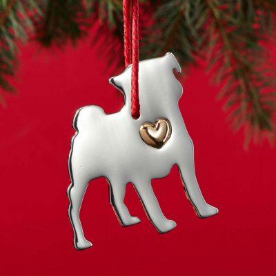 Pug Holiday Ornament & Collar Charm Set