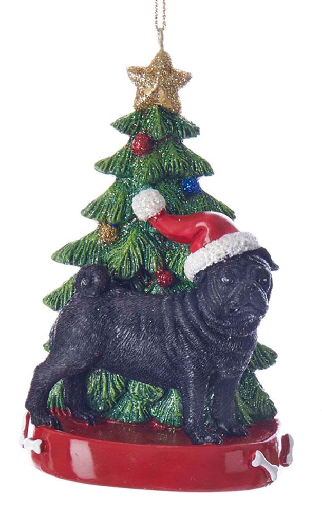 Pug Christmas Tree Ornament Black